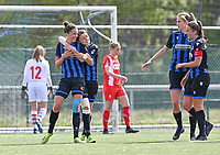 Charlotte Laridon (15) of Club Brugge  pictured celebrating with Debbie Decoene (21) of Club Brugge after scoring a goal during a female soccer game between Club Brugge Dames YLA and Standard Femine de Liege on the seventh matchday in Play-Off 1 of the 2020 - 2021 season of Belgian Scooore Womens Super League , saturday 15 May 2021  in Brugge , Belgium . PHOTO SPORTPIX.BE   SPP   DAVID CATRY