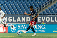 FOXBOROUGH, MA - AUGUST 7: Nicolas Firmino #29 of New England Revolution II passes the ball during a game between Orlando City B and New England Revolution II at Gillette Stadium on August 7, 2020 in Foxborough, Massachusetts.