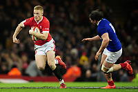Johnny McNicholl of Wales in action during the Guinness Six Nations Championship Round 3 match between Wales and France at the Principality Stadium in Cardiff, Wales, UK. Saturday 22 February 2020