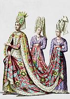 Isabeau (ou Isabelle, 1371-1435) de Baviere, femme du roi CharlesVI de France en 1385, reine de France en 1385-1422, gravure (image colorisee)  --- Isabeau of Bavaria (1371-1435) wife of french king CharlesVI in 1385, queen of France in 1385-1422, engraving