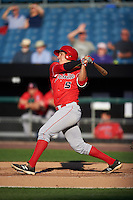 Louisville Bats third baseman Seth Mejias-Brean (5) at bat during a game against the Syracuse Chiefs on June 6, 2016 at NBT Bank Stadium in Syracuse, New York.  Syracuse defeated Louisville 3-1.  (Mike Janes/Four Seam Images)