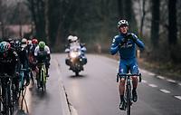 Yves Lampaert (BEL/Quick Step Floors) getting the clothing right before the race finale<br /> <br /> 73rd Dwars Door Vlaanderen 2018 (1.UWT)<br /> Roeselare - Waregem (BEL): 180km