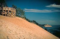 View of dunes at the National Lakeshore on Lake Michigan, sand dunes, scenic coastline. Sleeping Bear Dunes NLS Michigan USA.