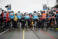 the 1st start line (based on the highest UCI-ranked riders) on the start grid counts 5 belgians, 2 dutchies & an american<br /> <br /> Men's Elite Race<br /> <br /> UCI 2016 cyclocross World Championships,<br /> Zolder, Belgium
