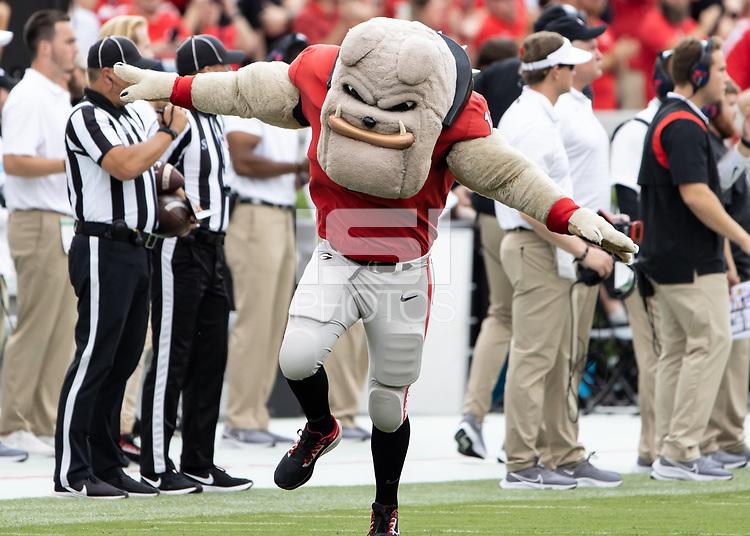 ATHENS, GA - SEPTEMBER 11: Hairy dawg prior to a game between University of Alabama Birmingham Blazers and University of Georgia Bulldogs at Sanford Stadium on September 11, 2021 in Athens, Georgia.
