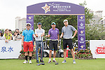 Luis Garcia (second from left) at the 1st hole during the World Celebrity Pro-Am 2016 Mission Hills China Golf Tournament on 21 October 2016, in Haikou, China. Photo by Weixiang Lim / Power Sport Images