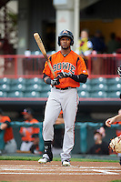 Bowie Baysox left fielder Julio Borbon (24) during a game against the Erie SeaWolves on May 12, 2016 at Jerry Uht Park in Erie, Pennsylvania.  Bowie defeated Erie 6-5.  (Mike Janes/Four Seam Images)