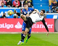 Deportivo Alaves' Carlos Vigaray (l) and Valencia CF's Gonzalo Guedes during La Liga match. October 28,2017. (ALTERPHOTOS/Acero) /NortePhoto.com