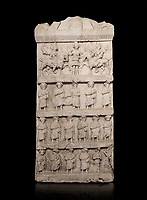 Roman relief sculpture funerary stele. Late Roman Period. Hierapolis Archaeology Museum, Turkey . Against an black background