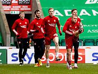 6th February 2021; Easter Road, Edinburgh, Scotland; Scottish Premiership Football, Hibernian versus Aberdeen; Dylan McGeouch of Aberdeen warms up before kick off