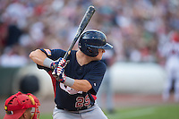 Chris Okey (25) of the US Collegiate National Team at bat against the Cuban National Team at BB&T BallPark on July 4, 2015 in Charlotte, North Carolina.  The United State Collegiate National Team defeated the Cuban National Team 11-1.  (Brian Westerholt/Four Seam Images)