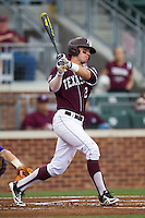 Texas A&M Aggies first baseman Cole Lankford (12) follows through on his swing against the LSU Tigers in the NCAA Southeastern Conference baseball game on May 10, 2013 at Blue Bell Park in College Station, Texas. LSU defeated Texas A&M 7-4. (Andrew Woolley/Four Seam Images).
