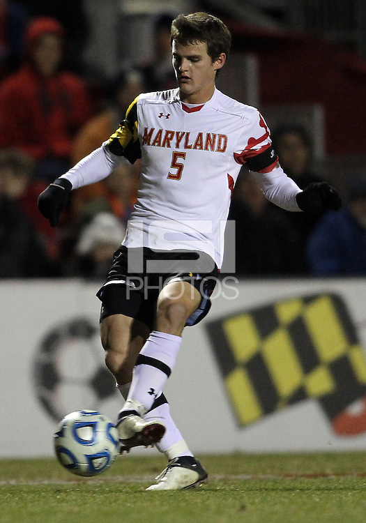 COLLEGE PARK, MD - NOVEMBER 25, 2012: Mikey Ambrose (5) of the University of Maryland  against  Coastal Carolina University during an NCAA championship third round match at Ludwig Field, in College Park, MD, on November 25. Maryland won 5-1.