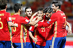 Spain's Sergi Roberto, Marco Asensio, Koke Resurreccion, David Silva, Nolito and Alvaro Morata celebrate goal during FIFA World Cup 2018 Qualifying Round match. September 5,2016.(ALTERPHOTOS/Acero)