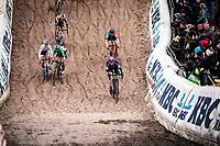 Eva Lechner (ITA/Creafin-Fristads) and Yara Kastelijn (NED/777) duelling in the infamous 'Pit'<br /> <br /> <br /> CX Superprestige Zonhoven (BEL) 2019<br /> women's race
