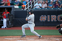 Oliver Dunn (13) of the Hudson Valley Renegades follows through on his swing against the Aberdeen IronBirds at Leidos Field at Ripken Stadium on July 23, 2021, in Aberdeen, MD. (Brian Westerholt/Four Seam Images)