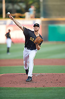 Salt Lake Bees starting pitcher Aaron Slegers (52) throws between innings during the game against the Reno Aces at Smith's Ballpark on August 24, 2021 in Salt Lake City, Utah. The Aces defeated the Bees 6-5. (Stephen Smith/Four Seam Images)