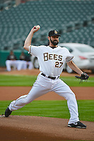 Matt Shoemaker (27) of the Salt Lake Bees prior to the game against the Albuquerque Isotopes in Pacific Coast League action at Smith's Ballpark on April 21, 2014 in Salt Lake City, Utah.  (Stephen Smith/Four Seam Images)