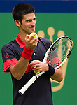 SHANGHAI, CHINA - OCTOBER 15:  Novak Djokovic of Serbia checks a ball during his match against Guillermo Garcia-Lopez of Spain during day five of the 2010 Shanghai Rolex Masters at the Shanghai Qi Zhong Tennis Center on October 15, 2010 in Shanghai, China.  (Photo by Victor Fraile/The Power of Sport Images) *** Local Caption *** Novak Djokovic