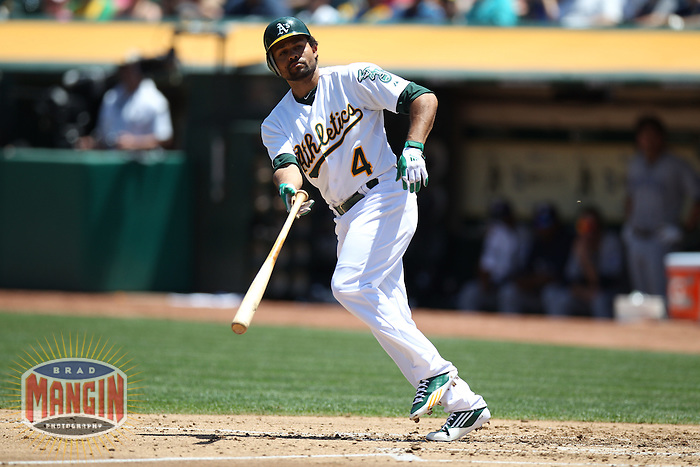 OAKLAND, CA - JUNE 16:  Coco Crisp #4 of the Oakland Athletics draws a walk against the San Diego Padres during the game at O.co Coliseum on Saturday, June 16, 2012 in Oakland, California. Photo by Brad Mangin