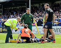 Olly Woodburn of Bath Rugby pulls his Achilles Tendon during the warm up before the Aviva Premiership match between Bath Rugby and Leicester Tigers at The Recreation Ground on Saturday 20th April 2013 (Photo by Rob Munro)