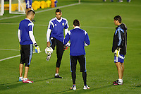 Goalkeeper Sergio Romero of Argentina warms up during the training session