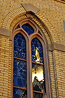 Mary Statue on the Golden Dome reflected in a window of the Basilica...Photo by Matt Cashore/University of Notre Dame