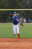 Connor Carson (1) of Tyler, Texas during the Baseball Factory All-America Pre-Season Rookie Tournament, powered by Under Armour, on January 13, 2018 at Lake Myrtle Sports Complex in Auburndale, Florida.  (Michael Johnson/Four Seam Images)