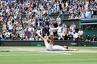 11th July 2021, Wimbledon SW London England, AELTC Wimbledon Tennis Championships, mens final, Novak Djokovic (Ser)  versus Matteo Berrettini (Ita) Novak Djokovic (Ser) celebrates his win in 4 sets