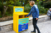 BNPS.co.uk (01202 558833)<br /> Pic: Hubbub/BNPS<br /> <br /> Pictured: A voting bin in Bournemouth.<br /> <br /> Litter dropped in Britain's most popular seaside resort reduced by 75 per cent this summer thanks to a new project using drone technology. <br /> <br /> The first-of-its kind survey identified alarming litter patterns along Bournemouth beach in Dorset with a staggering 123,000 bits of litter discarded in just one week.<br /> <br /> The data was then used to target the worst areas with strategic bin placement.