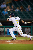 Montgomery Biscuits third baseman Alec Sole (11) follows through on a swing during a game against the Mississippi Braves on April 26, 2017 at Montgomery Riverwalk Stadium in Montgomery, Alabama.  Montgomery defeated Mississippi 5-2.  (Mike Janes/Four Seam Images)
