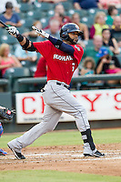 Oklahoma City RedHawks designated hitter Jonathan Villar (6) follows through on his swing during the Pacific Coast League baseball game against the Round Rock Express on August 1, 2014 at the Dell Diamond in Round Rock, Texas. The Express defeated the RedHawks 6-5. (Andrew Woolley/Four Seam Images)