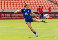 HOUSTON, TX - JUNE 9: Kelley O'Hara #5 of the USWNT takes a shot during a training session at BBVA Stadium on June 9, 2021 in Houston, Texas.