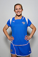 Amy Rodriguez of the Boston Breakers during the unveiling of the Women's Professional Soccer uniforms at the Event Place in Manhattan, NY, on February 24, 2009. Photo by Howard C. Smith/isiphotos.com