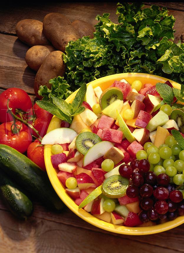 Fruit salad and garden vegetables.