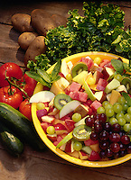 Fruit salad and garden vegetables.