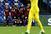 Jens Petter Hauge of AC Milan celebrates with team mates after scoring the goal of 1-3 during the Serie A football match between SSC Napoli and AC Milan at San Paolo stadium in Naples (Italy), November 22th 2020. Photo Cesare Purini / Insidefoto