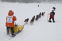 Charlie Allison of Talkeetna leaves the start line of the 2009 Junior Iditarod on Knik Lake on Saturday Februrary 28, 2009.