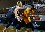 SIOUX FALLS, SD - MARCH 9: Maleeck Harden-Hayes #23 of the North Dakota State Bison looks to make a move against Francis Lacis #22 of the Oral Roberts Golden Eagles during the 2021 Men's Summit League Basketball Championship at the Sanford Pentagon in Sioux Falls, SD. (Photo by Dave Eggen/Inertia)