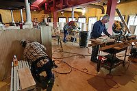 Workers rush to finish the interior of the refurbished Bel Lago restaurant on Hoover Reservoir. The restaurant opened two years ago as the Hoover Grill and is being rebuilt as an Italian eaterie. Photo Copyright Gary Gardiner. Not be used without written permission detailing exact usage.