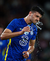 Armando Broja of Chelsea takes a water break during the 2021/22 Pre Season Friendly match between AFC Bournemouth and Chelsea at the Goldsands Stadium, Bournemouth, England on 27 July 2021. Photo by Andy Rowland.