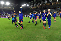 ORLANDO, FL - MARCH 05: The USWNT celebrate during a game between England and USWNT at Exploria Stadium on March 05, 2020 in Orlando, Florida.