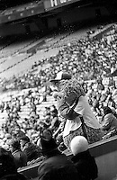Montreal Expos<br /> baseball team fans and YOUPPI  watch the game at the Olympic stadium, April 6, 1983