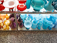 Detail of a colourful collection of Murano glass