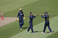 Andrew Salter of Glamorgan celebrates with his team mates after taking the wicket of Paul Walter during Glamorgan vs Essex Eagles, Vitality Blast T20 Cricket at the Sophia Gardens Cardiff on 13th June 2021
