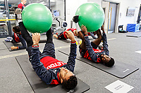 (L-R) Wayne Routledge and Nathan Dyer exercise in the gym during the Swansea City Training at The Fairwood Training Ground, Swansea, Wales, UK. Thursday 15 February 2018