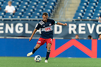 FOXBOROUGH, MA - JULY 23: Jake Rozhansky #32 of New England Revolution II passes the ball during a game between Toronto FC II and New England Revolution II at Gillette Stadium on July 23, 2021 in Foxborough, Massachusetts.
