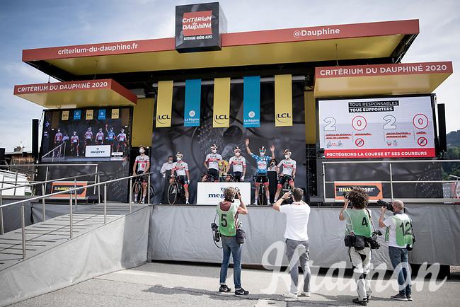 very restricted front podium acces at the race start in Megève<br /> <br /> Stage 5: Megève to Megève (154km)<br /> 72st Critérium du Dauphiné 2020 (2.UWT)<br /> <br /> ©kramon