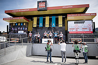 very restricted front podium acces at the race start in Megève<br /> <br /> Stage 5: Megève to Megève (154km)<br /> 72st Critérium du Dauphiné 2020 (2.UWT)<br /> <br /> ©kramon