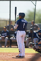 San Diego Padres infielder Eguy Rosario (1) at bat during an Instructional League game against the Milwaukee Brewers on September 27, 2017 at Peoria Sports Complex in Peoria, Arizona. (Zachary Lucy/Four Seam Images)